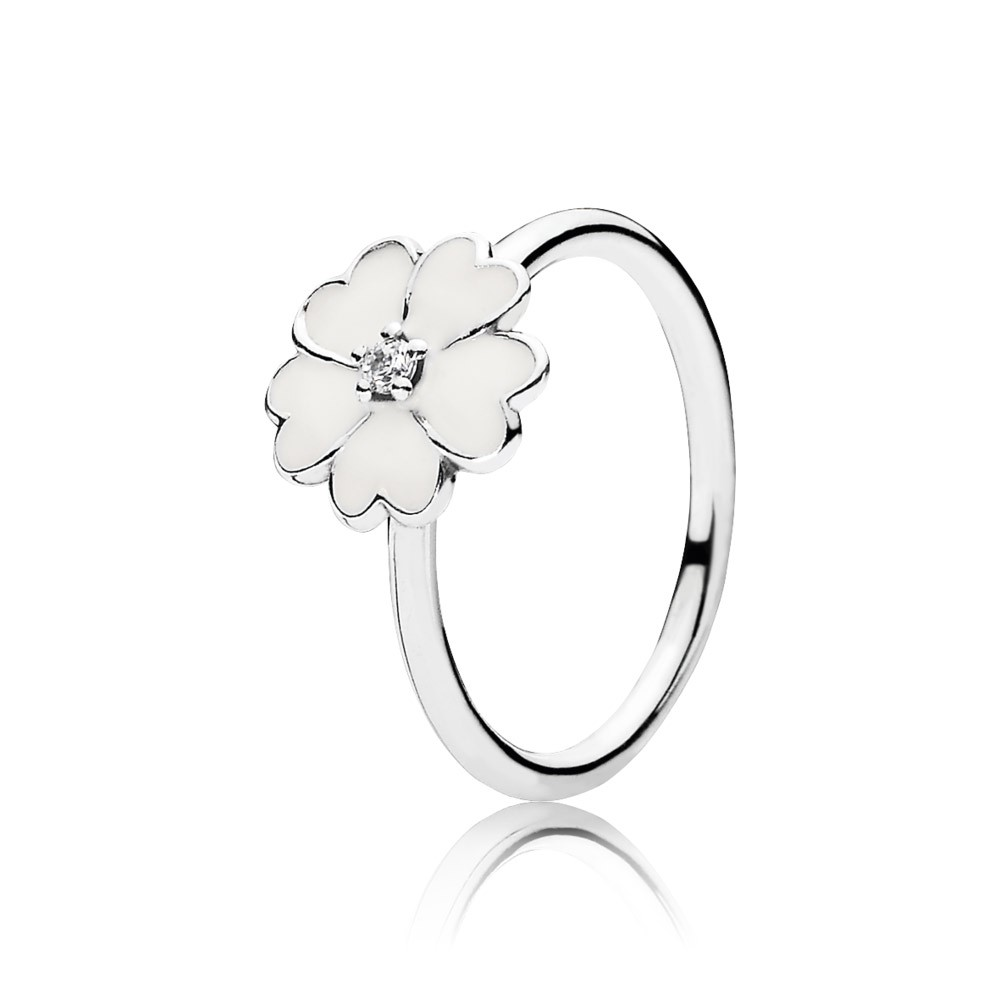 Primrose Silver Ring With Cubic Zirconia And White Enamel