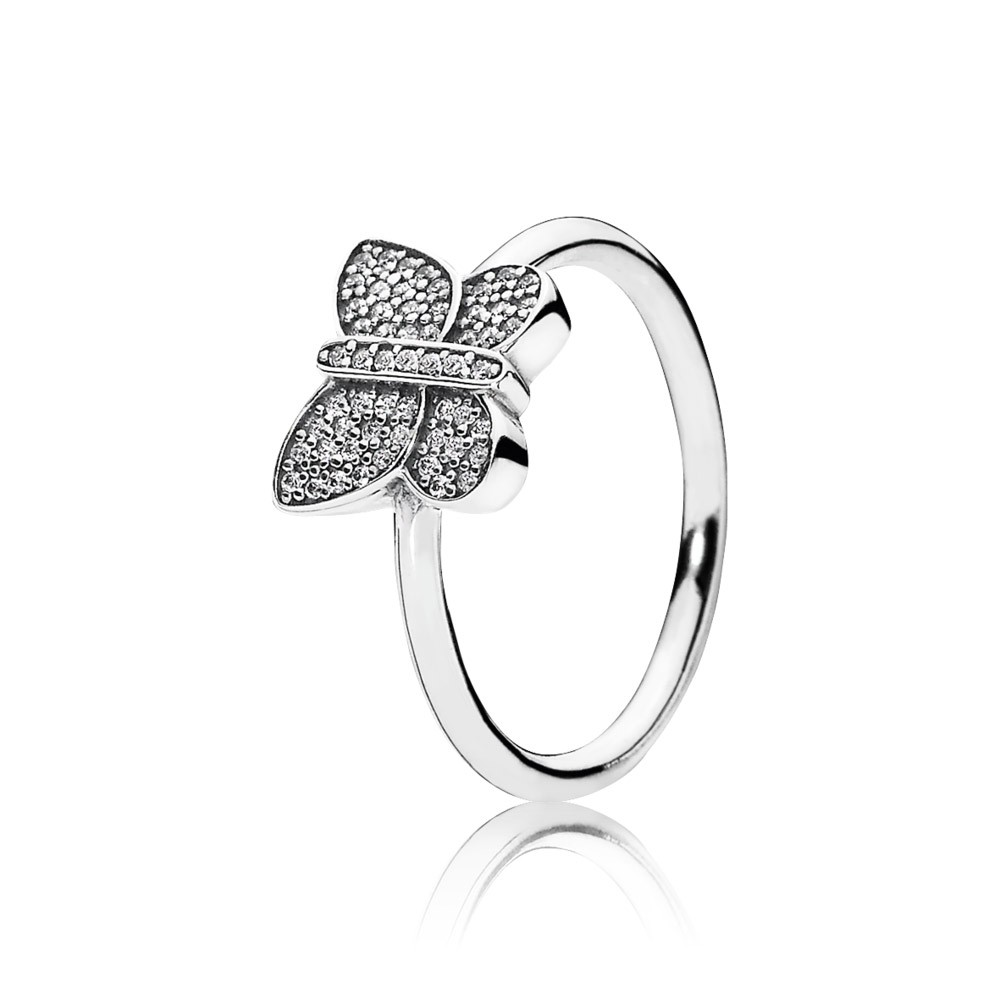 Butterfly Silver Ring With Cubic Zirconia