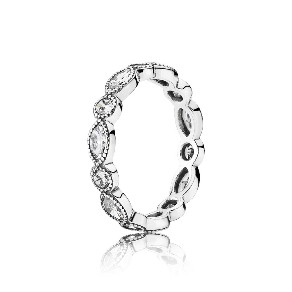 Round And Oval Eternity Silver Ring With Cubic Zirconia