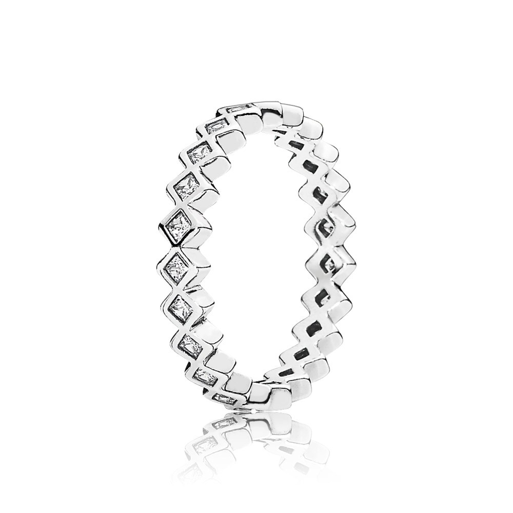 Square Eternity Silver Ring With Cubic Zirconia