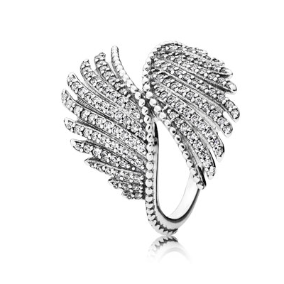 Phoenix feather silver ring with clear cubic zirconia