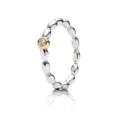 PANDORA Evening Star with 14K and Diamond Stackable Ring