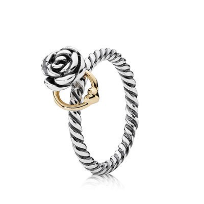 PANDORA Reminder Flower with 14K Heart Stackable Ring