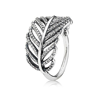 PANDORA Light As a Feather pave Stackable Ring