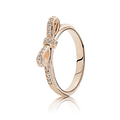 PANDORA rose Sparkling Bow with Clear CZ Ring