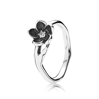PANDORA Mystic Floral with Clear CZ and Black Enamel Ring