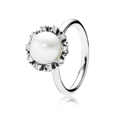 PANDORA Everlasting Grace with Clear CZ and White Pearl Ring