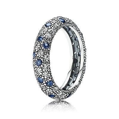 PANDORA Cosmic Stars with Clear CZ and Midnight Blue Crystal Ring
