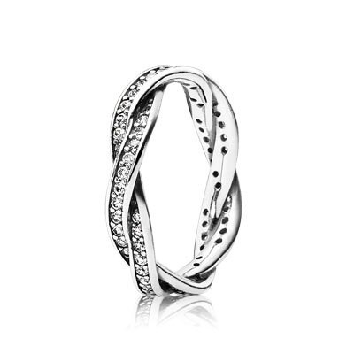 PANDORA Twist of Fate with Clear CZ Stackable Ring