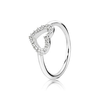 PANDORA Be My Valentine with Clear CZ Stackable Ring