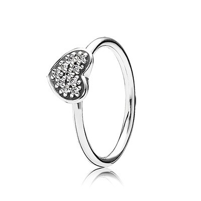 PANDORA Heart silver ring with pave set cubic zirconia