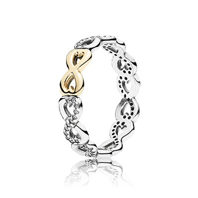 PANDORA Infinite Love with Clear CZ and 14K plated Ring