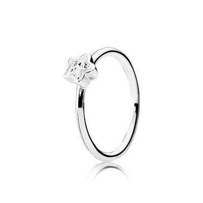PANDORA Silver Star Ring with Clear Cz