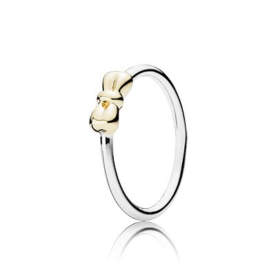 PANDORA Silver Ring with 14k Solid Gold Bow