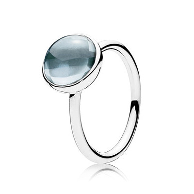 Aqua Blue Poetic Droplet Ring